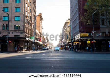 ADELAIDE, AUSTRALIA - OCTOBER 1, 2017: Street view on the day at Adelaide City.