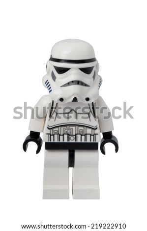 ADELAIDE, AUSTRALIA - September 11 2014:A studio shot of a Stormtrooper Lego minifigure from the Star Wars movie series. Lego is popular with children and collectors worldwide. - stock photo