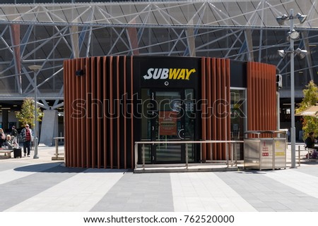 ADELAIDE, AUSTRALIA - SEPTEMBER 30, 2017: Subway franchise in front of the Adelaide airport.