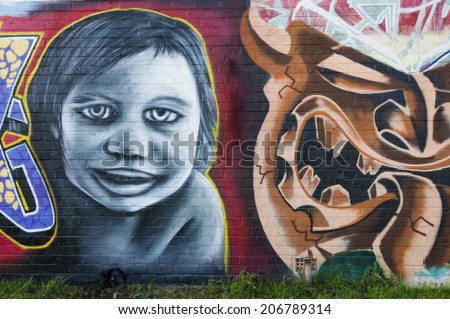 ADELAIDE, AUSTRALIA - SEPTEMBER 27TH, 2009: Street art by unidentified artist. Adelaide local councils recognise the importance of street art in creating a vibrant city.