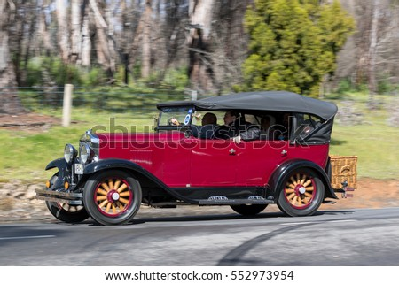 Adelaide, Australia - September 25, 2016: Vintage 1929 Chevrolet International Tourer driving on country roads near the town of Birdwood, South Australia.