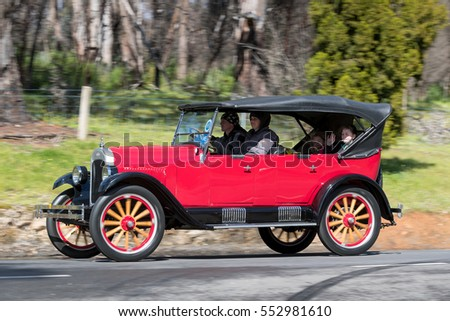 Adelaide, Australia - September 25, 2016: Vintage 1925 Chevrolet Superior K Tourer driving on country roads near the town of Birdwood, South Australia.