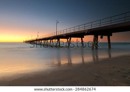 Adelaide Jetty Sunset - stock photo