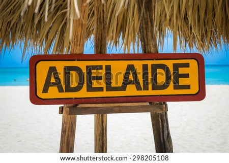 Adelaide sign with beach background - stock photo