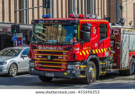Adelaide South Australia 29 August 2014 ,  Red Fire Engine stopped at the kerb in Adelaide CBD