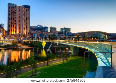 Adelaide, South Australia - January 18, 2015: Adelaide city lights and Riverbank Bridge across Torrens River at night