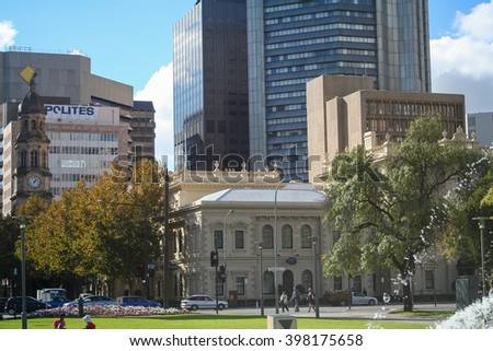 Adelaide, South Australia - May 08, 2010: Office buildings view from Victoria Square