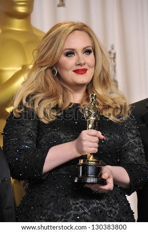 Adele at the 85th Academy Awards at the Dolby Theatre, Los Angeles. February 24, 2013  Los Angeles, CA Picture: Paul Smith - stock photo