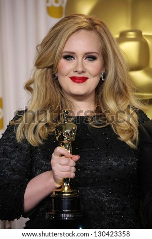Adele at the 85th Annual Academy Awards Press Room, Dolby Theater, Hollywood, CA 02-24-13 - stock photo