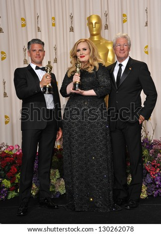 Adele, Paul Epworth & Richard Gere at the 85th Academy Awards at the Dolby Theatre, Los Angeles. February 24, 2013  Los Angeles, CA Picture: Paul Smith