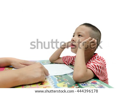 ADHD child lean with mom,Attention Deficit Hyperactivity Disorde - stock photo