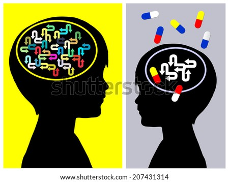 ADHD Treatment Concept. The medication of  Attention deficit hyperactivity disorder has side effects on the person - stock photo