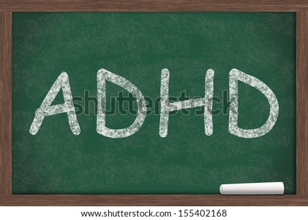 ADHD written on a chalkboard, Learning and having ADHD