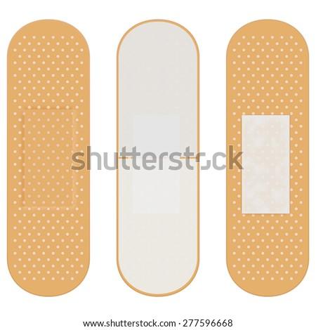 Adhesive bandage  isolated on white background. Raster version - stock photo