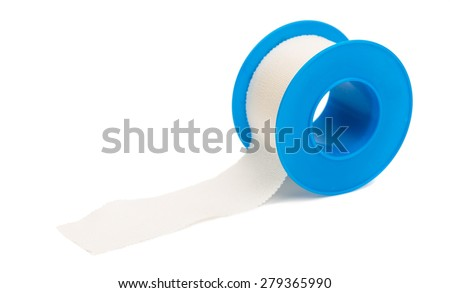 Adhesive bandage sticking plaster isolated over white background - stock photo