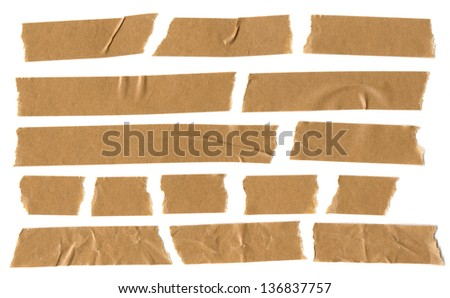 adhesive brown paper tape on white background