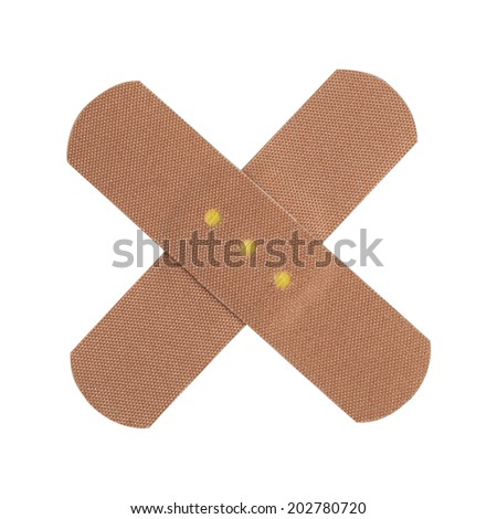 Adhesive first-aid bandage on white background - stock photo