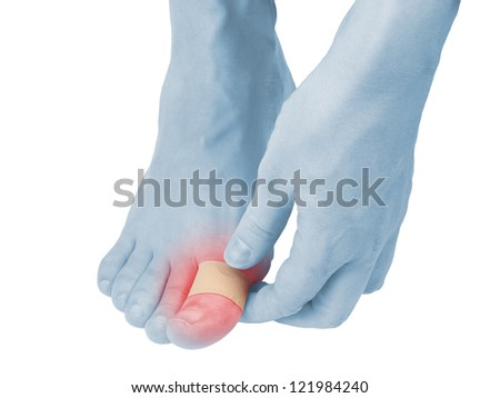 Adhesive Healing plaster on foot finger. Pain concept photo.