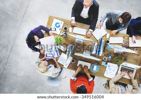 Adhesive Note Cluttered Objects Office Working Station Concept - stock photo