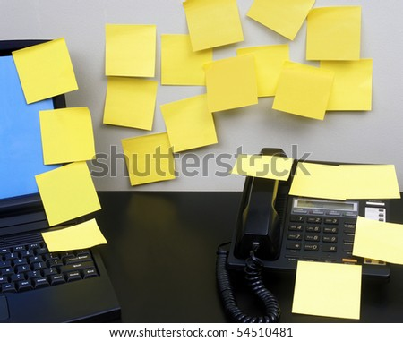 Adhesive notes in office - stock photo