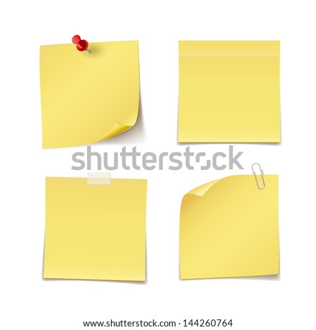 Adhesive Notes with pin, clip and scotch isolated on white. See also vector version