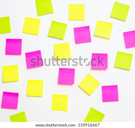 Adhesive paper note  stick on the wall