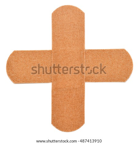 Adhesive plaster isolated on white background. Flat lay, top view