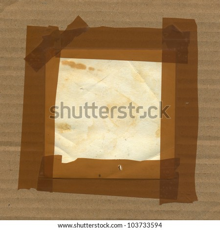 Adhesive tape border frame cardboard paper background. Grunge design element. - stock photo