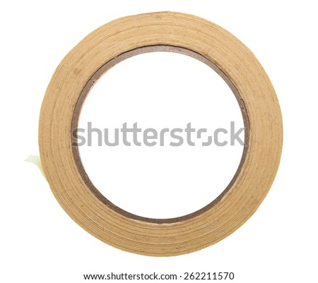 Adhesive tape isolated over white - stock photo