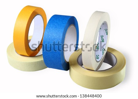 Adhesive tape on paper, blue, yellow and brown, horizontal, image, isolated, on a white background. - stock photo