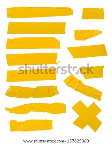Adhesive tape set. Isolated on white. - stock photo