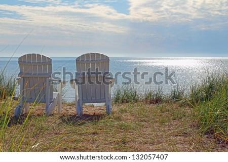 Adirondack Chairs On The Shore Of Lake Michigan At Blue Harbor Resort In  Sheboygan, WI