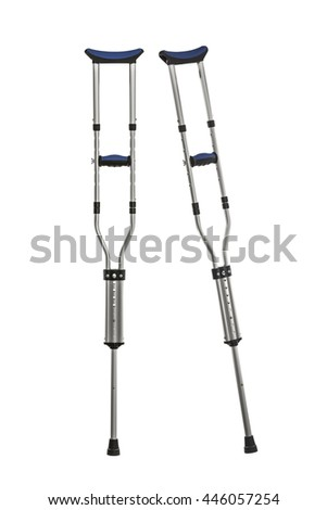 Adjustable metal crutches isolated on white.   - stock photo