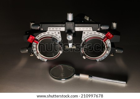 Adjustable optic testing frame - stock photo
