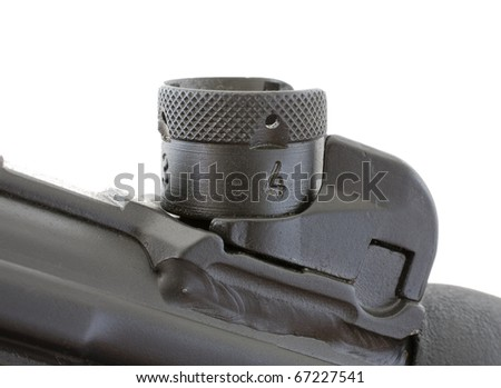 adjustable rear sight found on an assault rifle
