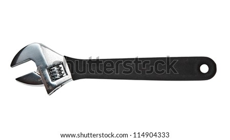 Adjustable spanner isolated on white background