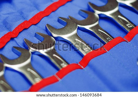 adjustable spanners in a blue cover - stock photo