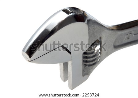 adjustable wrench head on white background