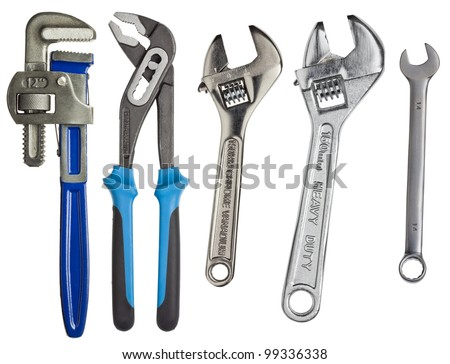 Adjustable wrenches, spanners isolated on white. - stock photo