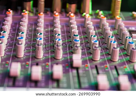 adjusting equipment for sound record - stock photo