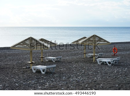 Adler, Krasnodar region, Russia - End of season - beach