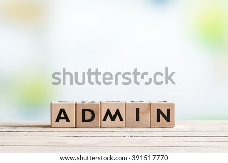 Admin login sign made of wood on a table - stock photo