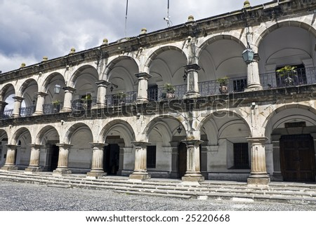Administration Building in downtown Antigua - stock photo