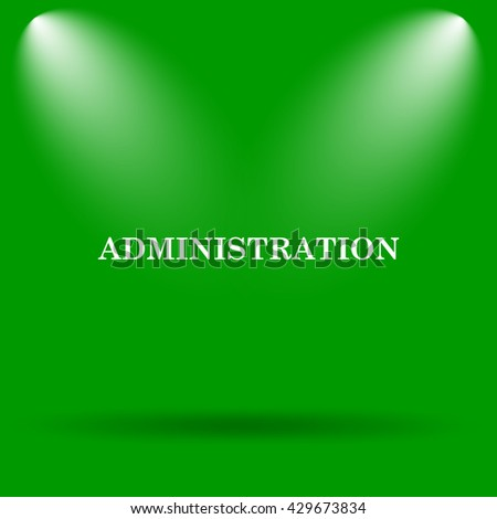 Administration icon. Internet button on green background.