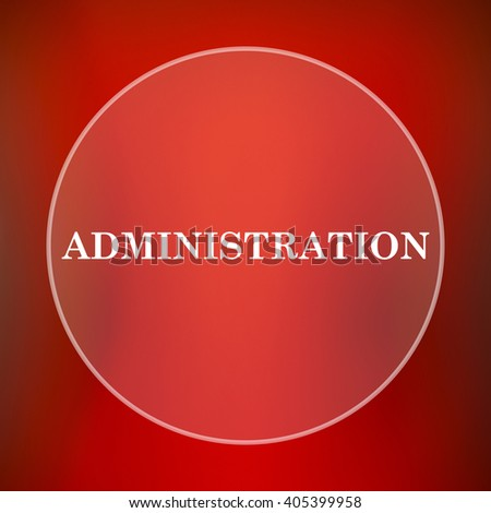 Administration icon. Internet button on red background.