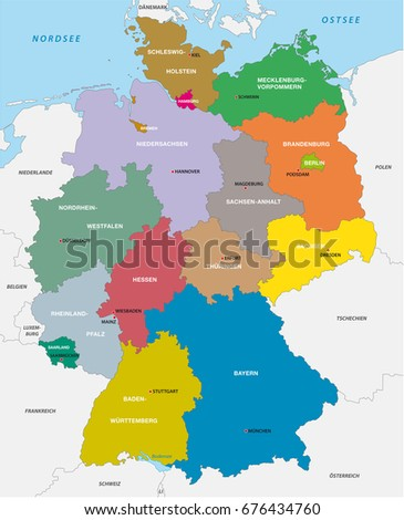 Colorful Germany Political Map Clearly Labeled Stock Vector - Germany map labeled