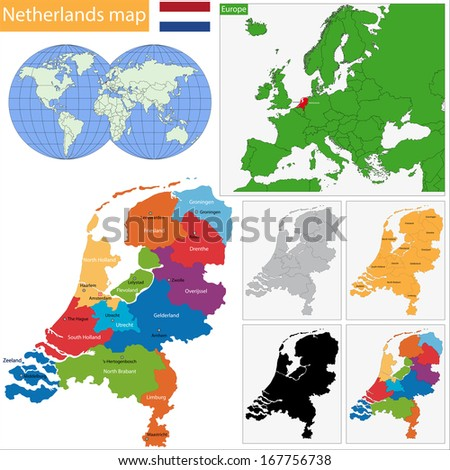 Administrative division of the Kingdom of the Netherlands - stock photo