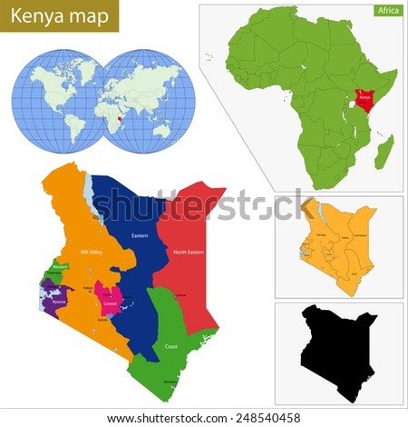 Administrative division of the Republic of Kenya - stock photo