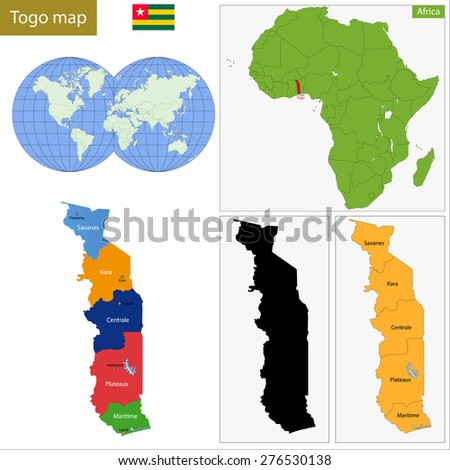 Administrative division of the Togolese Republic, colorful map - stock photo