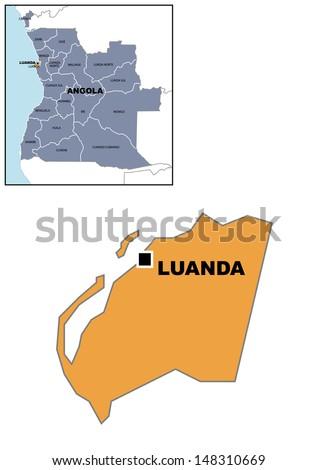 Administrative Map Angola Stock Illustration 148310669 Shutterstock